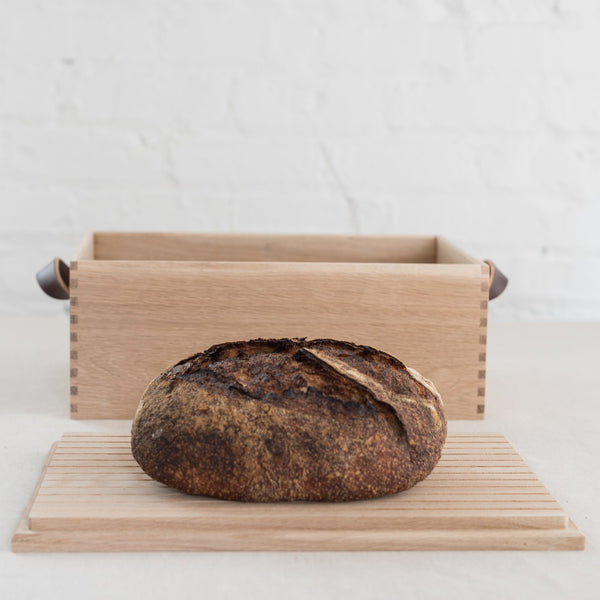 oak bread box - oak bread cutting board - oak box - bread box