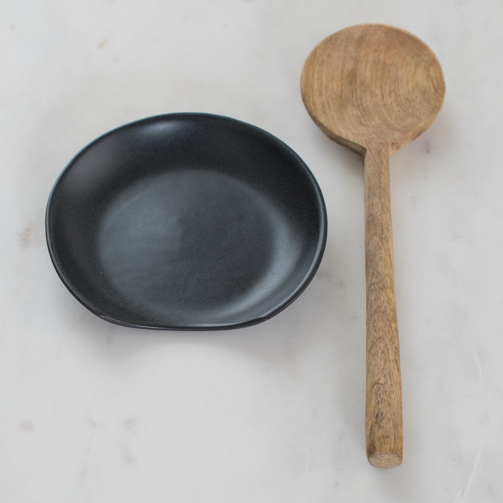 black stoneware spoon rest - spoon rest - spatula rest - be home -