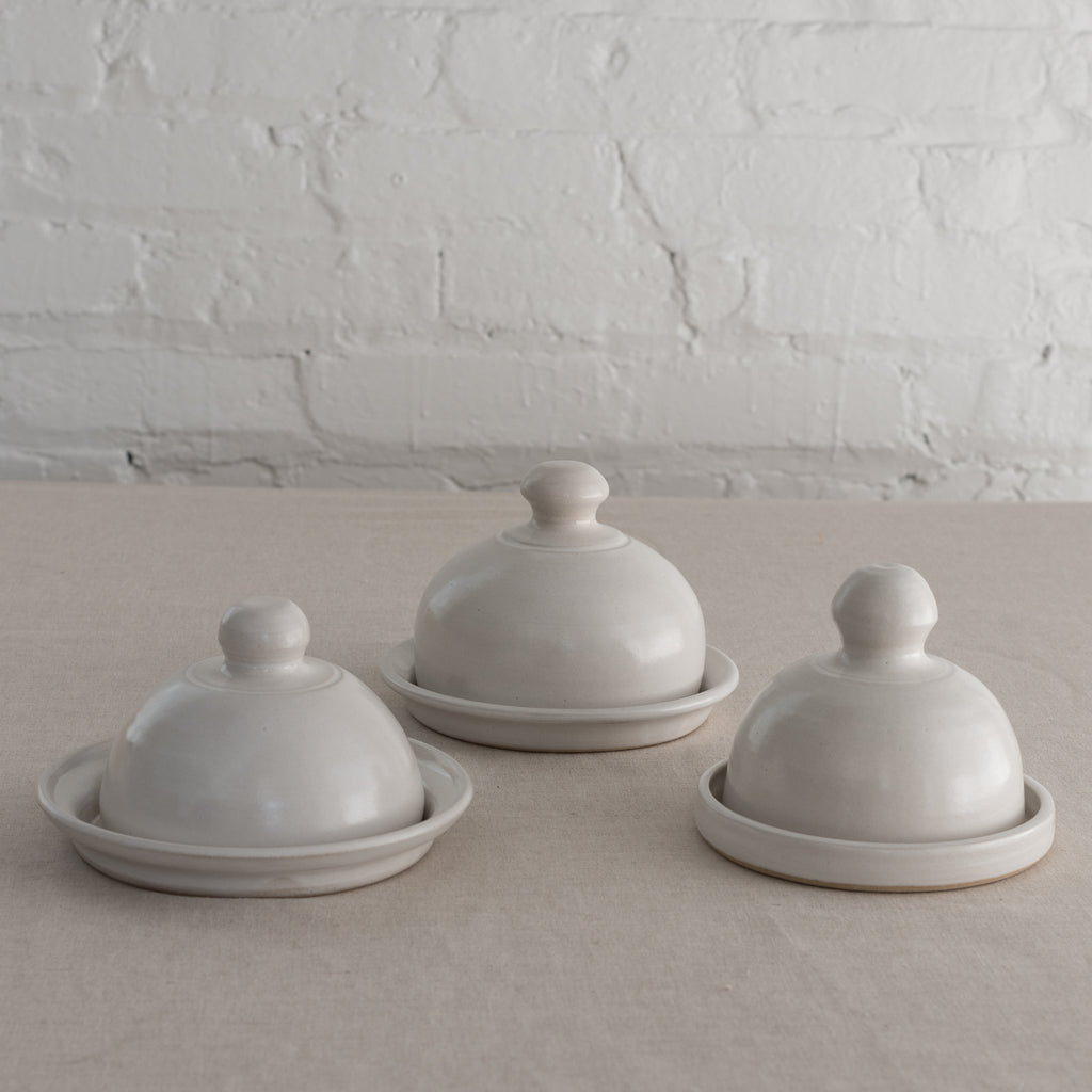 domed butter set - ceramic butter dish - stormy blue butter dish - white butter dish
