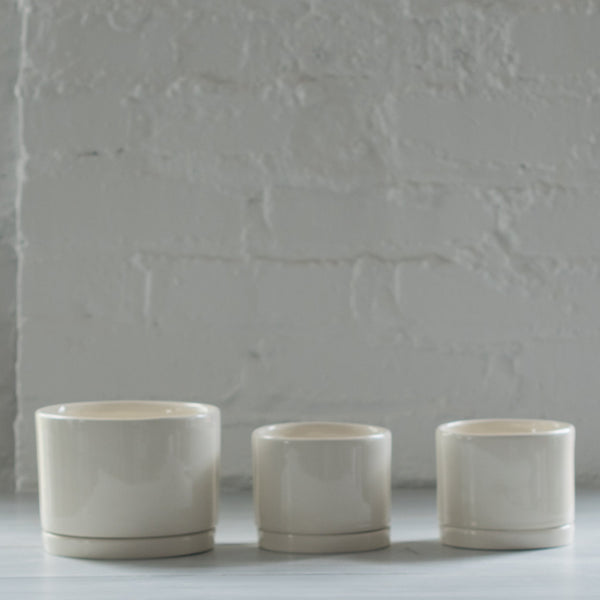 white - ceramic planter - tandem ceramics - ceramic planter