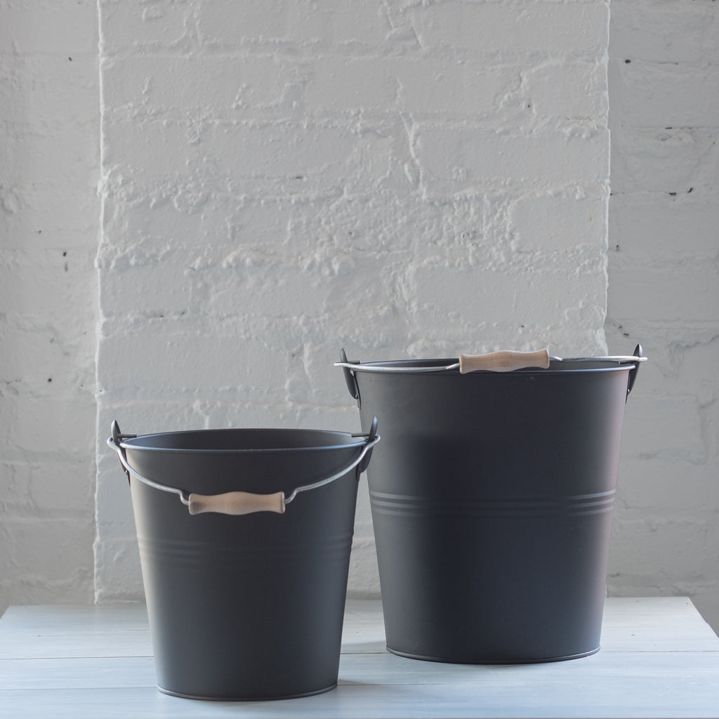 black tin bucket - redecker - plant bucket - tin bucket
