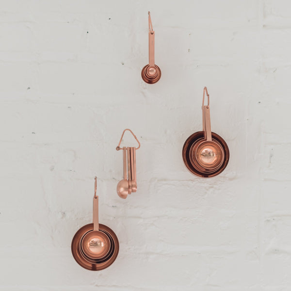 copper measuring cups - be home - baking - baking tool - copper cups -