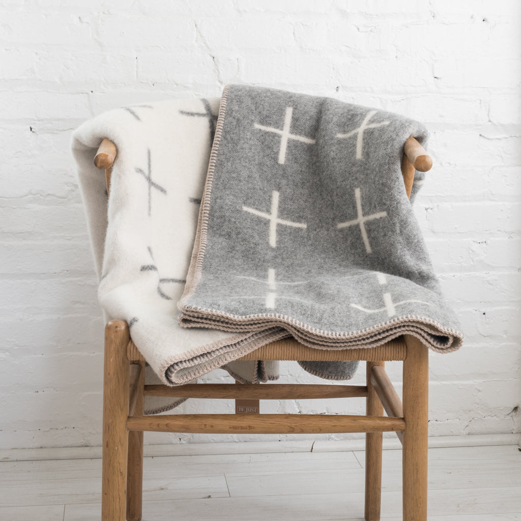 hawkins new york - cross blanket - wool blanket - modern blanket