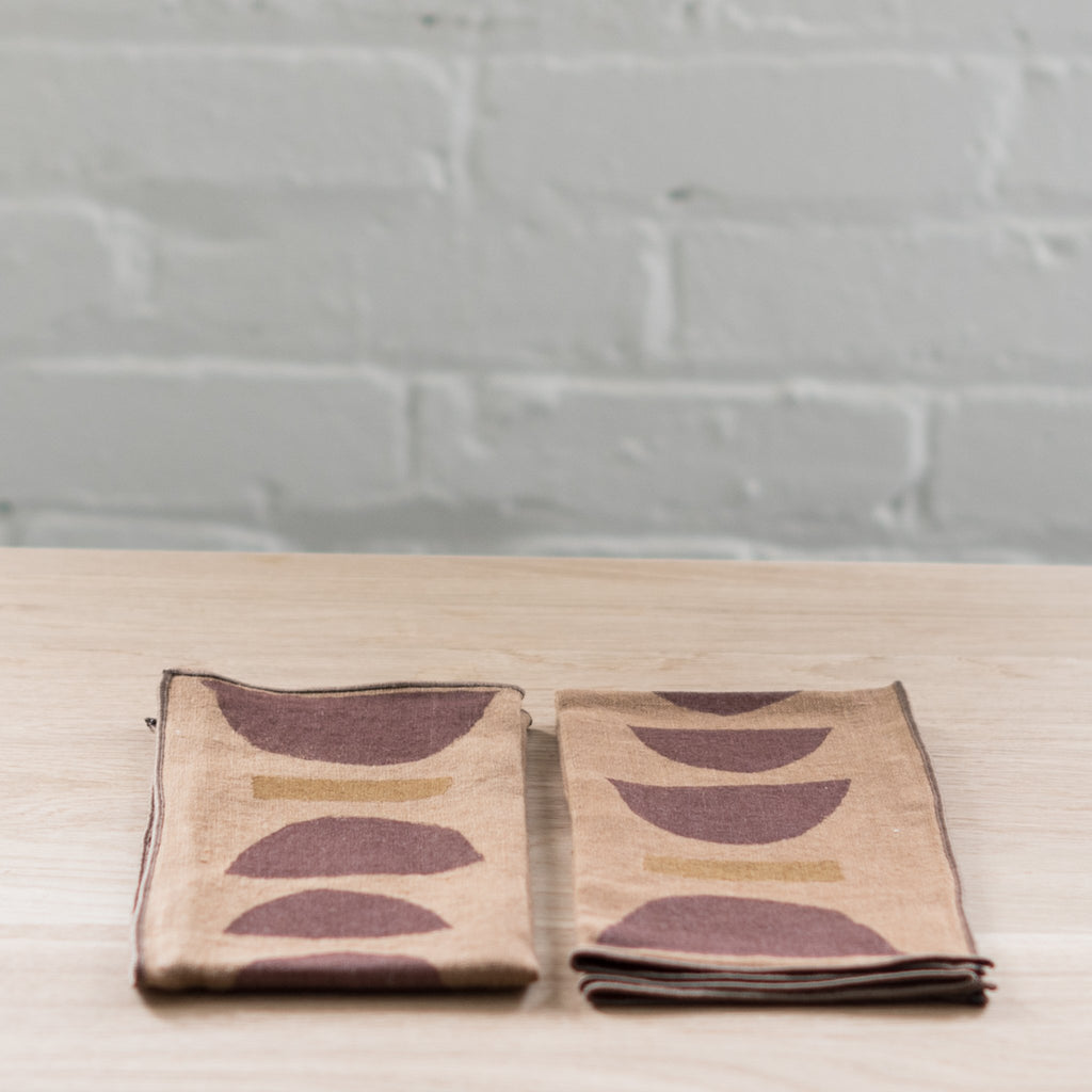 block printed linen napkin - linen napkin - willow ship