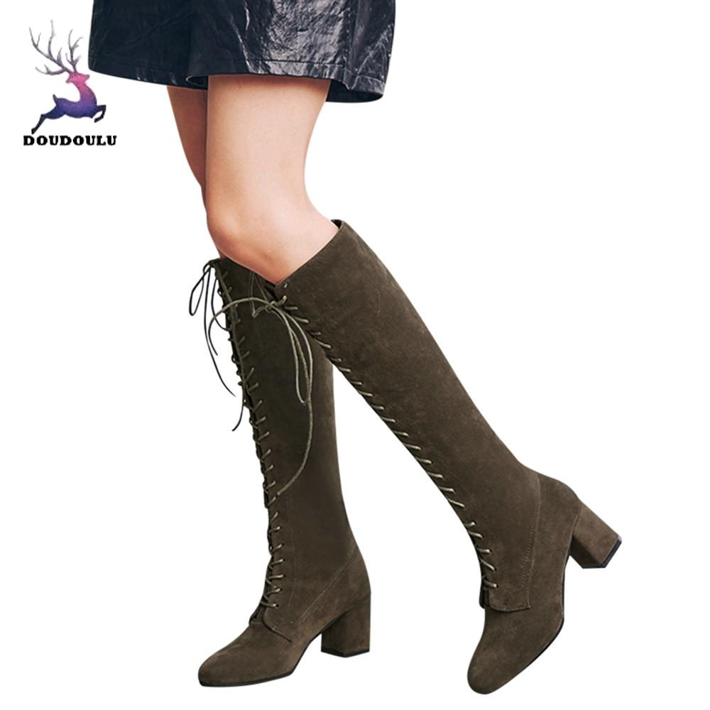3e7d355e71f moda mujer 2018 winter shoes Women Straps Slim Lace-up High Boots Over The  Knee ...