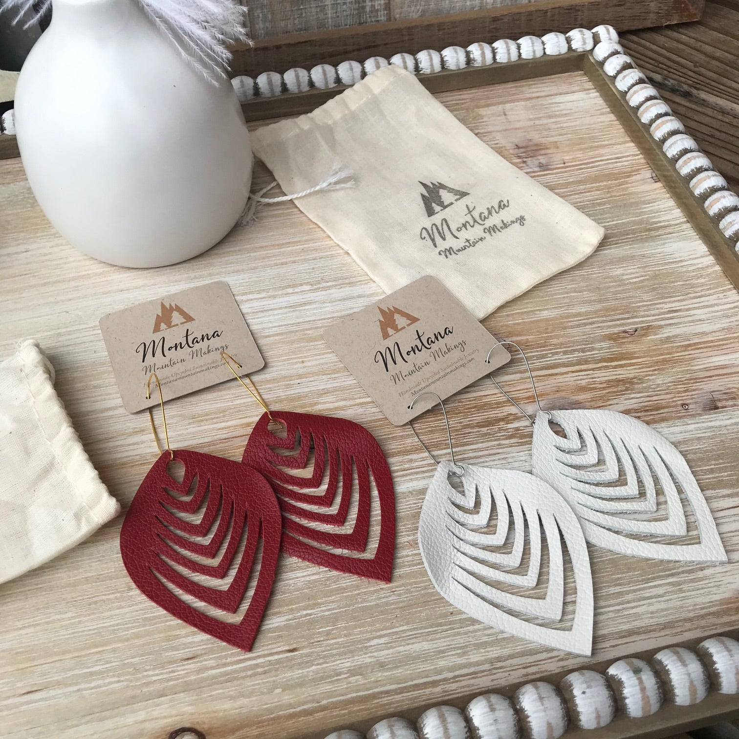 Statement Leather Leaf Earrings