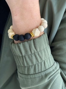 Triple Black Onyx and Wood Beads