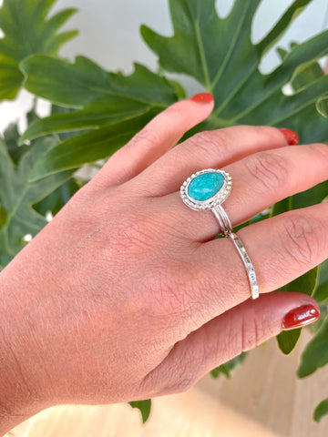 beaded campitos turquoise ring