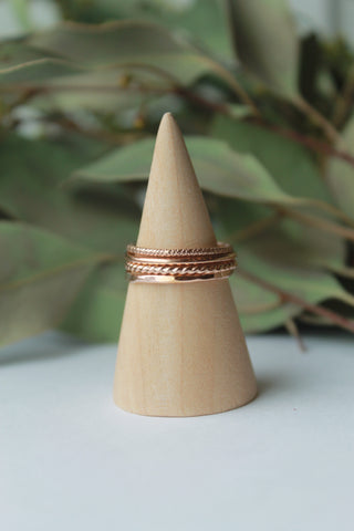 Three Set Rose Gold Stacking Rings