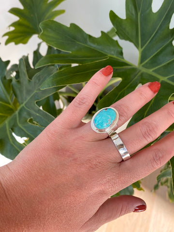 natural fox turquoise silver ring