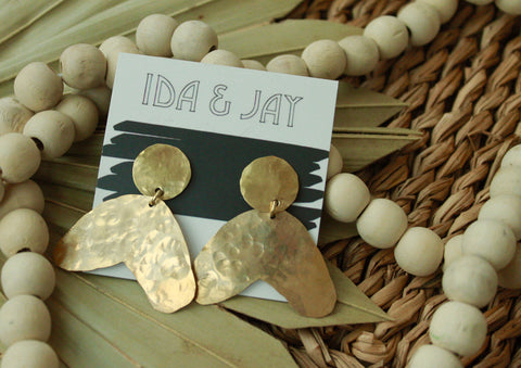 brass boomerang earrings