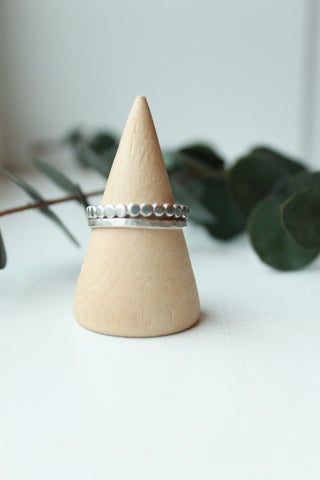 Thick Silver Dotted Ring Set