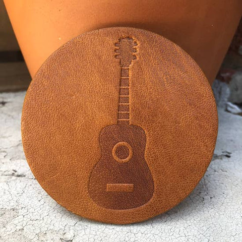 Leather Coaster- Guitar