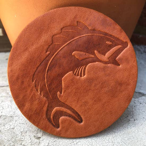 Leather Coaster- Jumping Fish