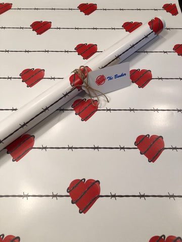 Country Barbed Wire Hearts Wrapping Paper