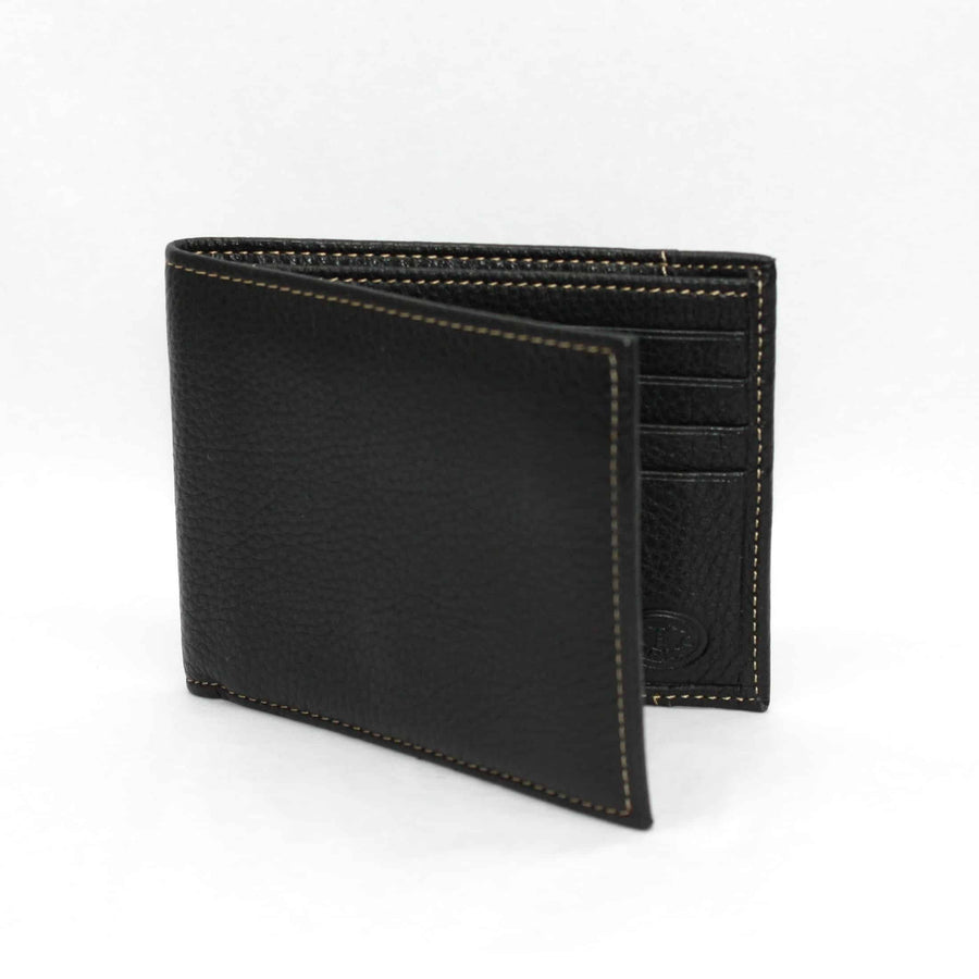 Tumbled Glove Leather Billfold Wallet in Black by Torino Leather