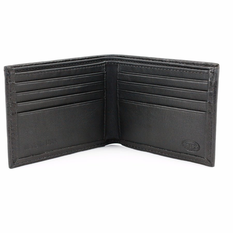 Italian Glazed Milled Calfskin Leather Billfold Wallet in Black by Torino Leather
