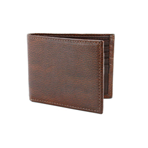 Italian Glazed Milled Calfskin Leather Billfold Wallet in Brown by Torino Leather