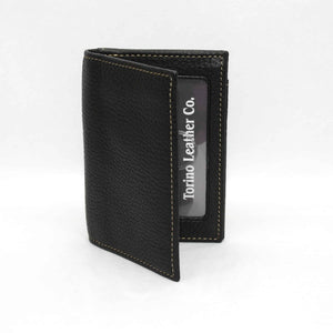 Tumbled Glove Leather Gusseted Card Case in Black By Torino Leather