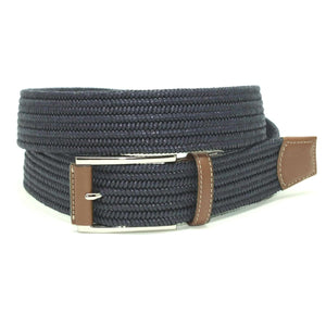 Italian Mini Woven Cotton Stretch Belt in Navy by Torino Leather