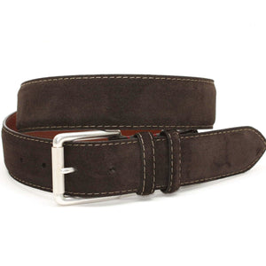 European Sueded Calfskin Belt in Brown by Torino Leather