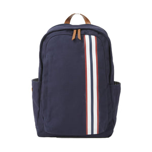 Teddy Zipper Backpack with Stripe in Navy Canvas by Baekgaard