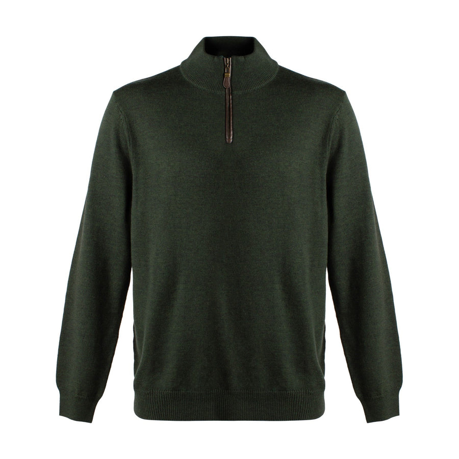 Extra Fine 'Zegna Baruffa' Merino Wool Quarter-Zip Sweater in Dark Green by Viyella