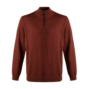 Extra Fine 'Zegna Baruffa' Merino Wool Quarter-Zip Sweater in Rust by Viyella