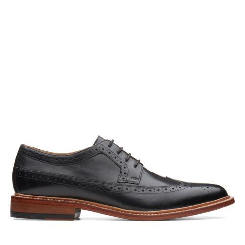 No. 16 Soft Wing Brogue Detailed Wingtip in Black Leather by Bostonian