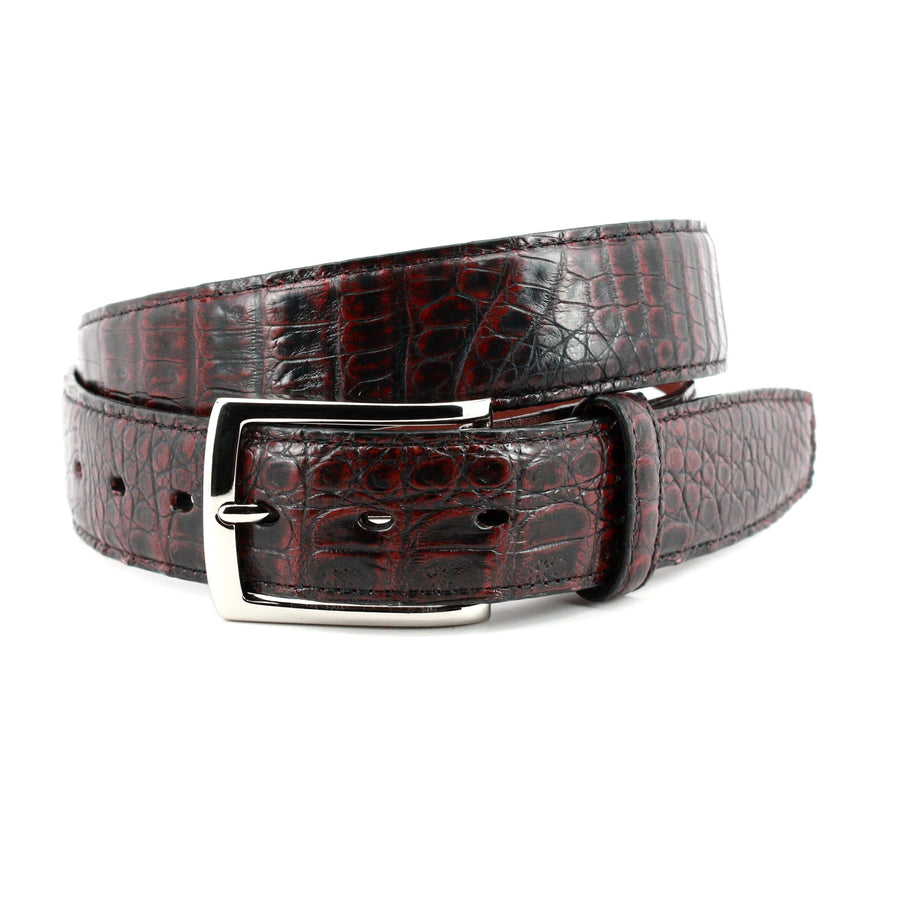 South American Caiman Belt in Black Cherry by Torino Leather