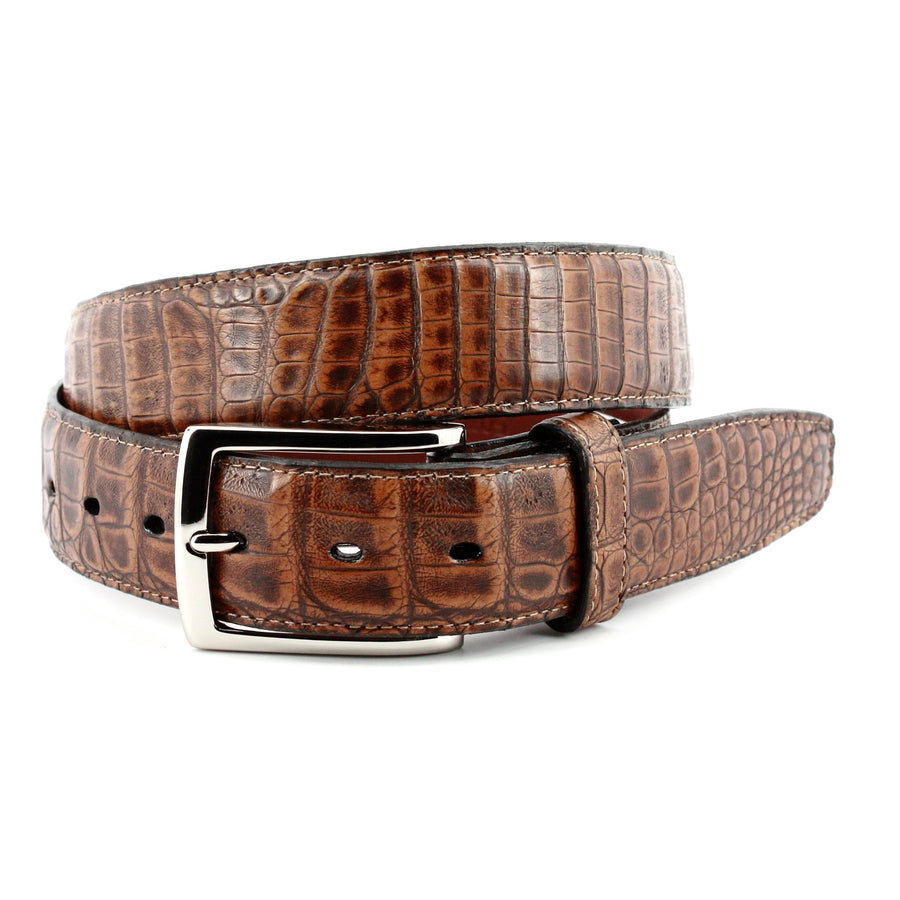 South American Caiman Belt in Antiqued Pecan by Torino Leather