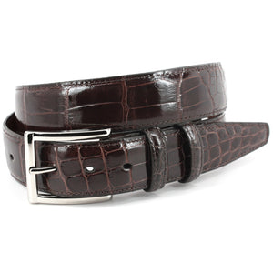 Genuine American Alligator Stitched Edge Belt in Brown by Torino Leather