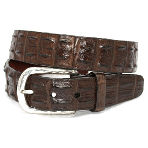 Hornback Crocodile Belt in Brown by Torino Leather
