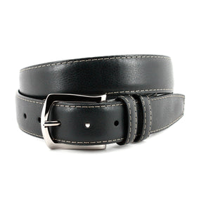 Contrast Stitched Italian Soft Glazed Milled Calfskin Belt in Black by Torino Leather