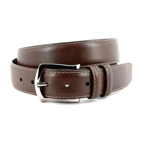 Contrast Stitched Italian Soft Glazed Milled Calfskin Belt in Brown by Torino Leather