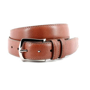 Contrast Stitched Italian Soft Glazed Milled Calfskin Belt in Brandy by Torino Leather