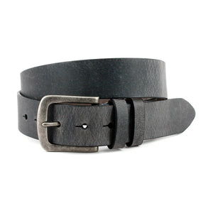Distressed Waxed Harness Leather Belt in Charcoal by Torino Leather
