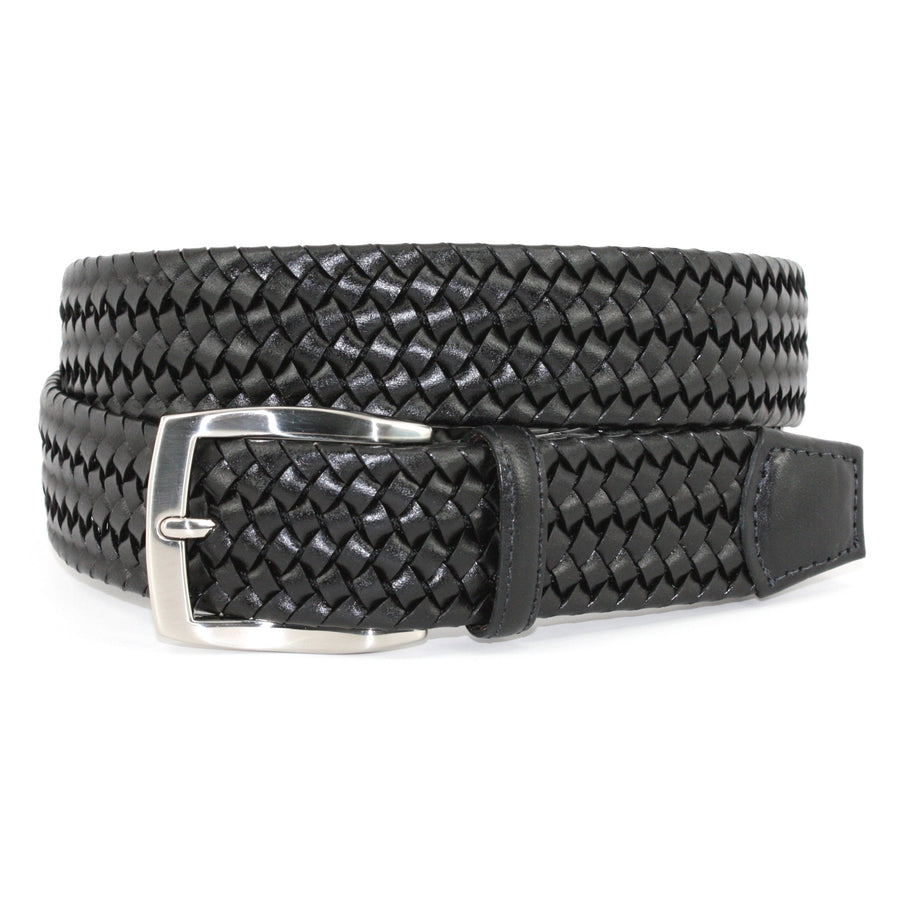 Italian Woven Stretch Leather Belt in Black by Torino Leather