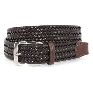 Italian Woven Stretch Leather Belt in Brown by Torino Leather