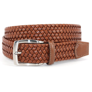 Italian Woven Stretch Leather Belt in Cognac by Torino Leather