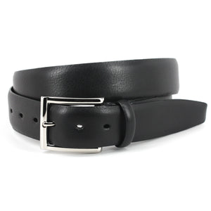 Italian Glazed Milled Calfskin Belt in Black by Torino Leather
