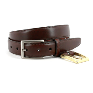 Glazed Kipskin Belt with Interchangeable Buckles in Brown by Torino Leather
