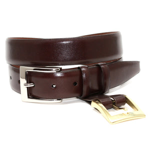 Italian Calfskin Belt with Interchangeable Buckles in Brown by Torino Leather