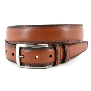 Hand Stained Italian Kipskin Belt in Walnut by Torino Leather