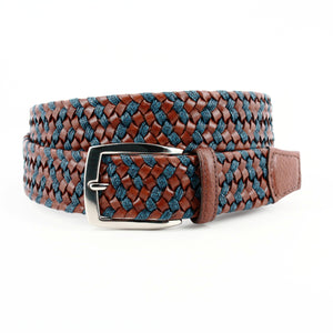 Braided Italian Leather and Linen Belt in Cognac and Navy by Torino Leather