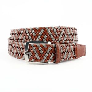 Braided Italian Leather and Linen Belt in Cognac and Taupe by Torino Leather