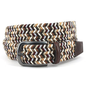 Italian Woven Rayon Elastic Belt in Brown and Camel Multi by Torino Leather
