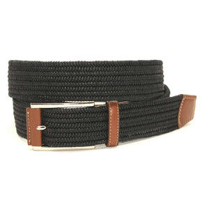 Italian Mini Woven Cotton Stretch Belt in Black by Torino Leather