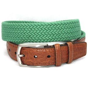 Italian Woven Cotton Elastic Belt in Light Green by Torino Leather