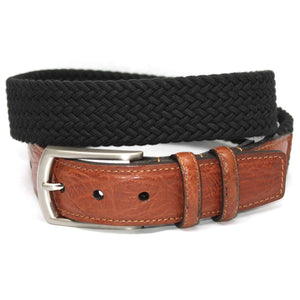 Italian Woven Cotton Elastic Belt in Black by Torino Leather